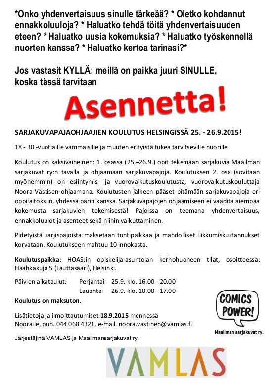 Vamlas järjestää sarjispajaohjaajien koulutusta Helsingissä 25. - 26.9.2015