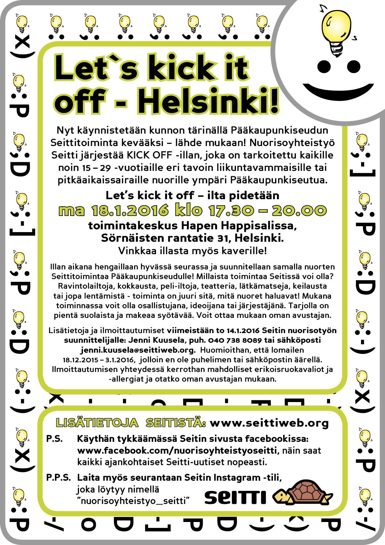Seitin kick off -ilta Helsingissä