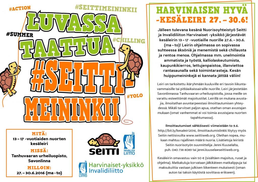 Seitin Harvinaisen hyvä -kesäleiri järjestetään 27.-30.6